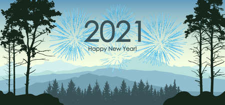 Winter landscape. 2021 New Year. Silhouette of forest and mountains, and fireworks. Vector illustration. Illustration
