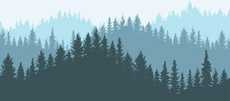 Forest in mountains, silhouette. Beautiful landscape. Vector illustration. Vektorgrafik