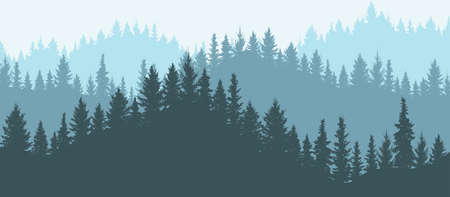 Forest in mountains, silhouette. Beautiful landscape. Vector illustration. Illustration