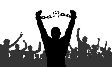 Silhouette of man broking chains in handcuffs on background of cheerful crowd. Concept of freedom. Vector illustration Illustration