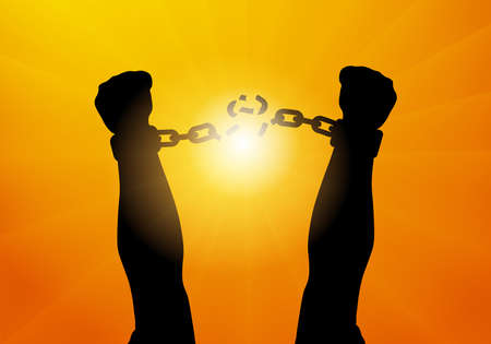 Silhouette of male hands breaking chain in handscuffs on background of sunlight, freedom. Vector illustration.