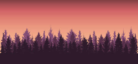 Forest background at sunset, silhouette of beautiful nature. All fir trees are separated from each other. Vector illustration