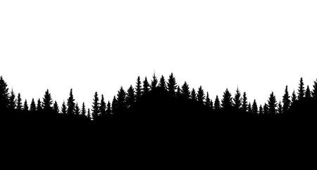 Silhouette of forest. Seamless forest on hills. Beautiful trees are separated from each other. Vector illustration.