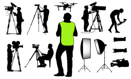 Silhouettes of cameramen with video and photo equipment, quadcopter and etc., set. Vector illustration. Illustration