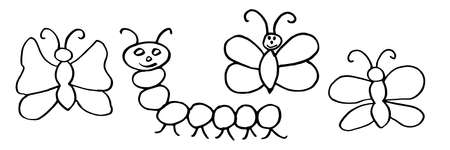 Kids hand drawing of butterflies and caterpillar. Vector illustration