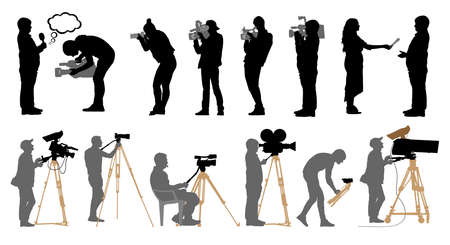 Set of professional people with video cameras and photo cameras. Silhouettes are separated. Vector illustration. Illustration