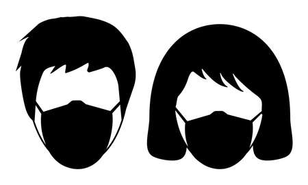 Icons of man and woman in medical mask. Mask regime, wearing respiratory mask in public places. Vector illustration