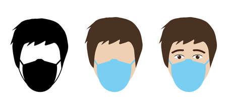 It is forbidden to enter without medical mask. Wearing medical mask in public places. The face of man in protective respiratory mask in three types. Vector illustration.