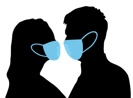 Profile couple of man and woman in medical mask, silhouette. Relationship of lovers in pandemic infection (Covid-19). Vector illustration.