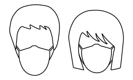 Icons of faces of man and woman in medical protection mask. Isolated. Mask regime, concepts of coronavirus, disease, quarantine, epidemic, social distancing and etc. Vector illustration.  イラスト・ベクター素材