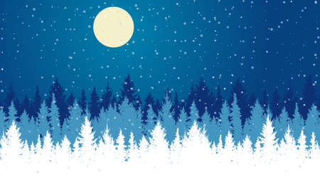 Silhouette winter forest at night. Beautiful landscape, fir trees, snowfall. Vector illustration.  イラスト・ベクター素材