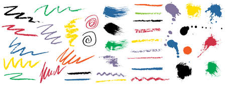 Set of brush. Texture of paint splashes, ink drops and stains, pencil and chalk stroke lines, scribble and etc. Vector illustration