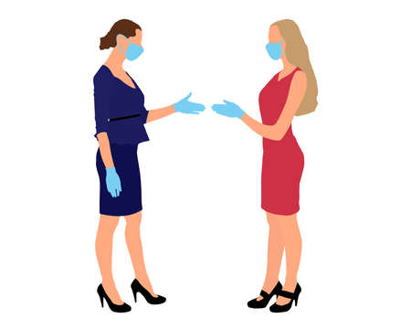 Business in pandemic of disease. Two businesswomen shaking hands in medical gloves and medical masks on face. Flat design. Partnership concept. Isolated. Vector illustration  イラスト・ベクター素材