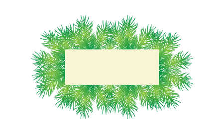 Banner decorated branches of fir trees (spruce) with card for text, isolated on white background. Vector illustration.  イラスト・ベクター素材