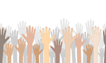 Seamless raised human hands on background of silhouettes of hands up, isolated. Racial equality, diversity multiethnic people. Vector illustration