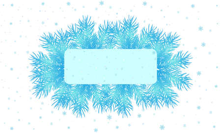 Winter banner decorated branches of spruce trees and snowflakes in blue color, card for text. Vector illustration
