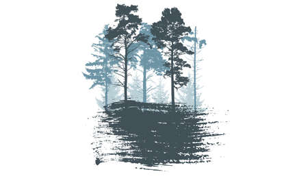 Forest, silhouettes of fir trees and pines and smear brush,  badge. Vector illustration. Illustration