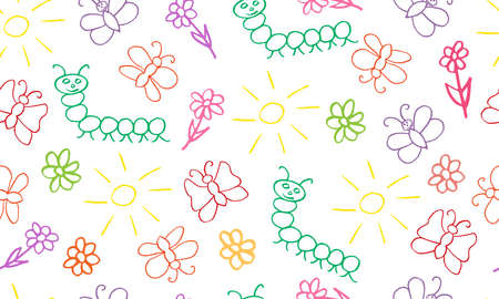 Kid's picture of insects (butterflies, caterpillar) and flowers, sun. Seamless pattern for wrapping paper, fabric and etc. Vector illustration.