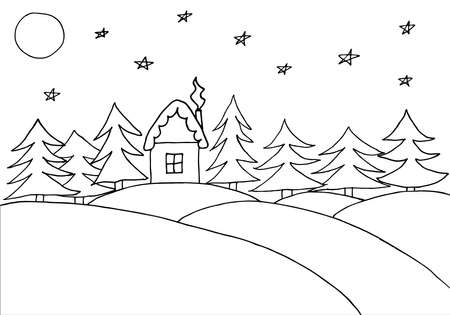 Children drawing of forest and house in winter at night. Contour of snow hills, house, fir trees, moon, stars. Hand drawn. Vector illustration.