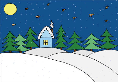 Hand drawn house in forest in winter at night. Painted kid's drawing. Snow hills and fir trees and house and moon and stars. Vector illustration. Illustration