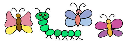 Kid's drawing. Color butterflies and caterpillar hand drawn. Vector illustration. Illustration