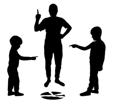 Children point fingers at each other. Children lie to their parents. Broken plate. Angry parent showing thumb. Silhouette vector Illustration