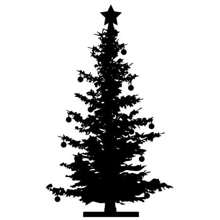 Christmas tree. New Year. Silhouette vector Illustration