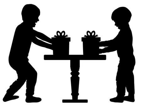 Children gifts. Happy cheerful child. Brothers receive gifts for holiday. Silhouette vector