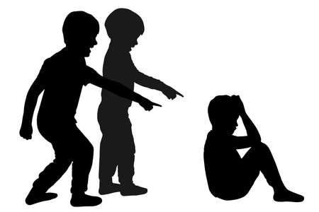 School bullying children. Taunting a child. Silhouette vector Illustration