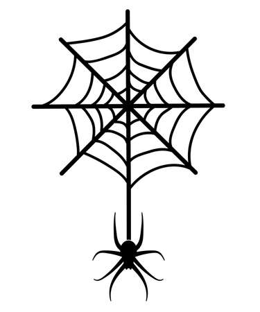 Spider on a web. Vector icon silhouette
