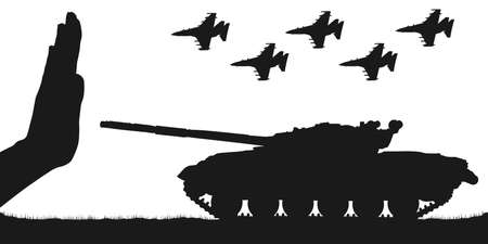 Stop war. No military force. Stopping the tank and aircraft. Silhouette vector