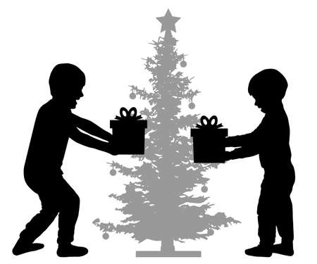 Children are happy with New Year's gifts. Christmas tree. Silhouette vector