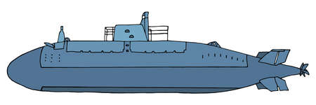 Beautiful military submarine, hand drawing. Blue underwater vessel isolated on white background, side view. Vector illustration.