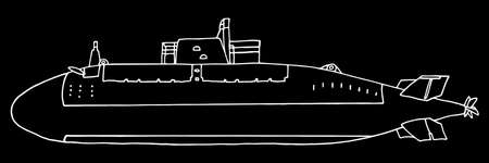 Submarine, hand drawing. Beautiful white contour of underwater vessel on black background. Vector illustration