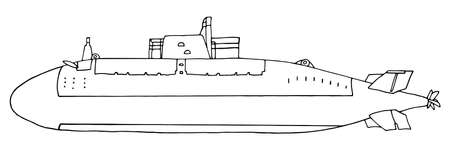 Military submarine hand drawn, isolated on white background. Coloring page. Vector illustration.