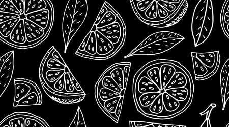 Seamless pattern. Slice and quarter of lemon fruit and leaves on black background. Vector illustration.