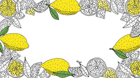Lemon fruits frame, hand drawn, isolated. Whole lemons, slice, leaves. Citrus frame design with place for text. Vector illustration Illustration