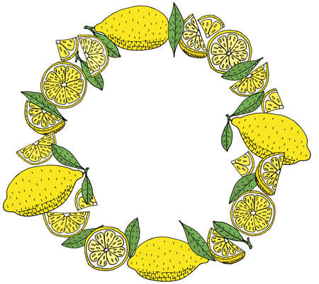 Hand drawn wreath of yellow lemon fruit with green leaves, isolated. Template, beautiful round frame with citrus, with place for text. Vector illustration.
