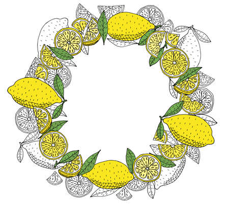 Lemon fruit wreath hand drawn, isolated. Beautiful round frame with citrus, with place for text, lettering. Vector illustration.