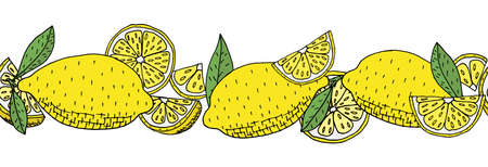 Seamless brush, pattern of lemon fruit, isolated. Hand drawing of whole lemon, slice, quarter and leaves. Vector illustration. Illustration