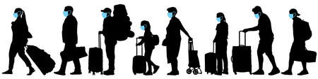 Masked tourists. Crowd of people with suitcases. Vector silhouette set Stock Illustratie