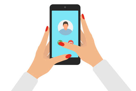 Female hands holding smartphone and answer on incoming call. Finger touch screen. Isolated on white background. Vector illustration Stock Illustratie