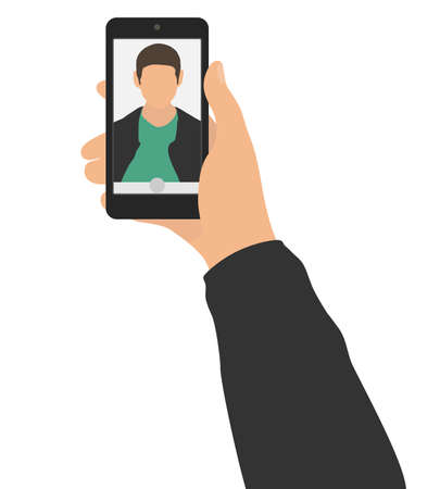 Male hand holding mobile phone and taking photo selfie. Self portrait of man on display or screen of smartphone. Vector illustration. Stock Illustratie