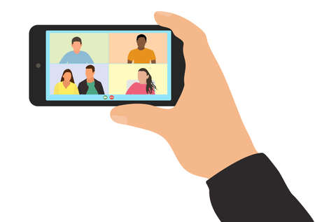 Video call with friends or colleagues at work. Hand of man holding smartphone, screen shows people. Virtual online communication, distance conversation. Vector illustration.