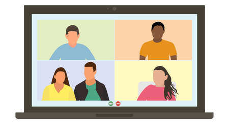 Video call online, virtual meeting of group of people talking by internet. Friends or colleagues communicate through laptop screen from home. Flat design. Vector illustration.