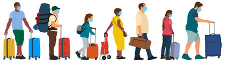 Masked tourists. Crowd of people with suitcases. Travel era of a pandemic COVID-19. Vector silhouette set