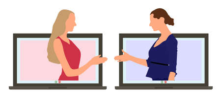 Online business meeting. Concluding deal through video call by internet. Two businesswomen communicate through laptop screens and shake hands. Vector illustration.