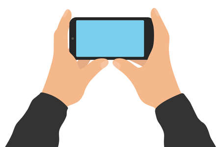 Male two hands hold smartphone, isolated on white background. Screen of phone. Vector illustration