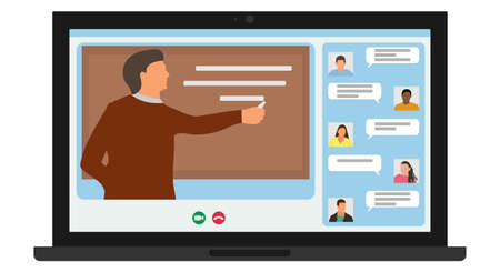 Distance learning, online education. Man teacher write chalk on blackboard and students of University listening teacher using laptop and chatting. Screen of laptop. Vector illustration Ilustração
