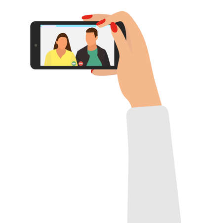 Video call with friends or colleagues at work. Female hands holding smartphone, screen shows people. Virtual online communication, distance conversation. Vector illustration.